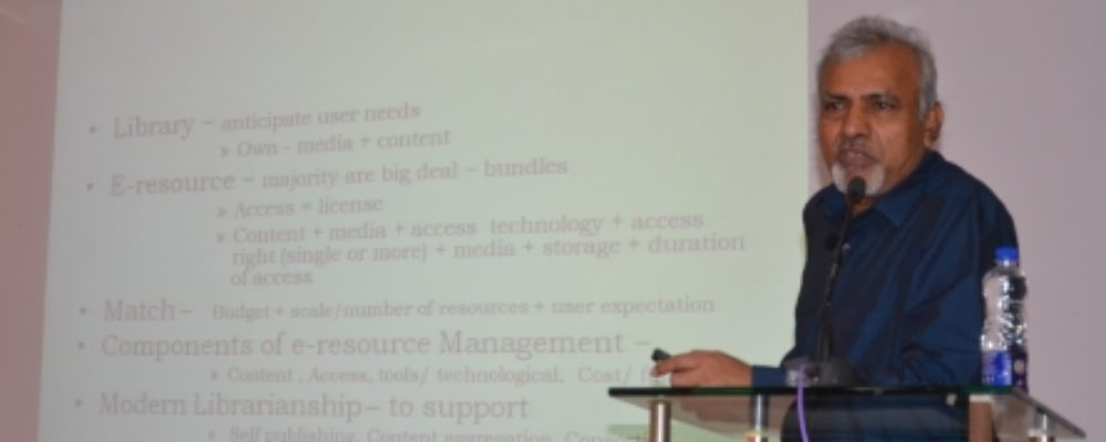 Invited talk on E-Resources and Access Models by Dr. HS Siddamallaih, Rtd. Principal Librarian, NIHMANS, Bangalore.