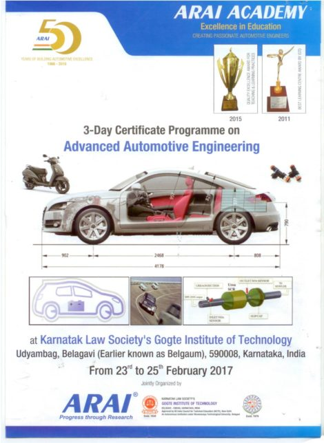 3-day certificate programme on Advanced Automotive Engineering