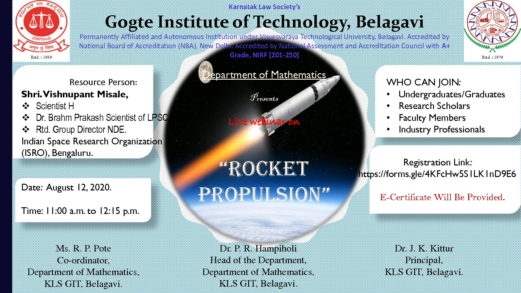 Webinar On Rocket Propulsion Kls Gogte Institute Of Technology Belagavi